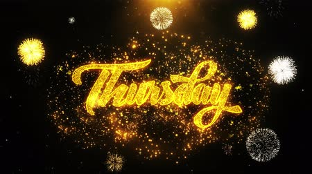 čtvrtek : Thursday Text Sparks Particles Reveal from Golden Firework Display explosion 4K. Greeting card, Celebration, Party Invitation, calendar, Gift, Events, Message, Holiday, Wishes Festival . Dostupné videozáznamy