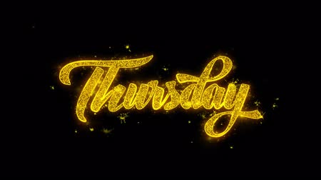 čtvrtek : Thursday Typography Written with Golden Particles Sparks Fireworks Display 4K. Greeting card, Celebration, Party Invitation, calendar, Gift, Events, Message, Holiday, Wishes Festival