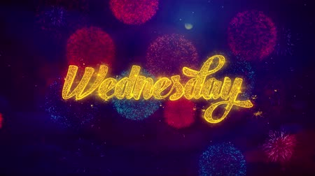 domingo : Wednesday Greeting Text with Particles and Sparks Colored Bokeh Fireworks Display 4K. for Greeting card, Celebration, Party Invitation, calendar, Gift, Events, Message, Holiday, Wishes .