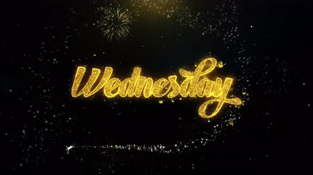 quinta feira : Wednesday Written Gold Glitter Particles Spark Exploding Fireworks Display 4K . Greeting card, Celebration, Party Invitation, calendar, Gift, Events, Message, Holiday, Wishes Festival Vídeos