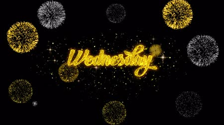quinta feira : Wednesday Golden Greeting Text Appearance Blinking Particles with Golden Fireworks Display 4K for Greeting card, Celebration, Invitation, calendar, Gift, Events, Message, Holiday, Wishes . Vídeos