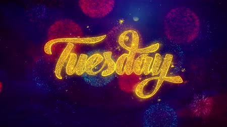čtvrtek : Tuesday Greeting Text with Particles and Sparks Colored Bokeh Fireworks Display 4K. for Greeting card, Celebration, Party Invitation, calendar, Gift, Events, Message, Holiday, Wishes .