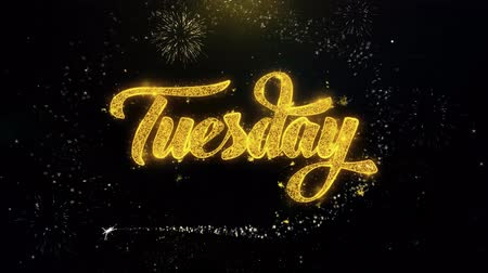 palavras : Tuesday Written Gold Glitter Particles Spark Exploding Fireworks Display 4K . Greeting card, Celebration, Party Invitation, calendar, Gift, Events, Message, Holiday, Wishes Festival Vídeos
