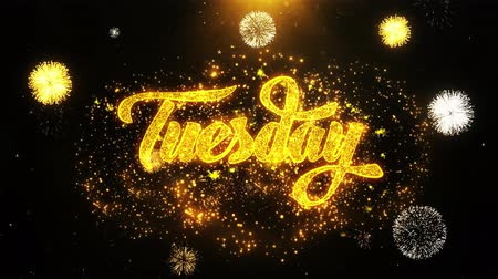 úterý : Tuesday Text Sparks Particles Reveal from Golden Firework Display explosion 4K. Greeting card, Celebration, Party Invitation, calendar, Gift, Events, Message, Holiday, Wishes Festival .