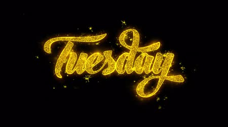 čtvrtek : Tuesday Typography Written with Golden Particles Sparks Fireworks Display 4K. Greeting card, Celebration, Party Invitation, calendar, Gift, Events, Message, Holiday, Wishes Festival