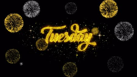 luty : Tuesday Golden Greeting Text Appearance Blinking Particles with Golden Fireworks Display 4K for Greeting card, Celebration, Invitation, calendar, Gift, Events, Message, Holiday, Wishes .