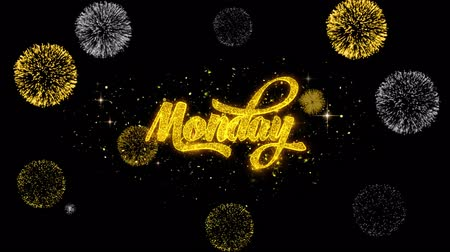 monção : Monday Golden Greeting Text Appearance Blinking Particles with Golden Fireworks Display 4K for Greeting card, Celebration, Invitation, calendar, Gift, Events, Message, Holiday, Wishes .