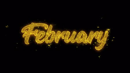 lembrete : February Typography Written with Golden Particles Sparks Fireworks Display 4K. Greeting card, Celebration, Party Invitation, calendar, Gift, Events, Message, Holiday, Wishes Festival