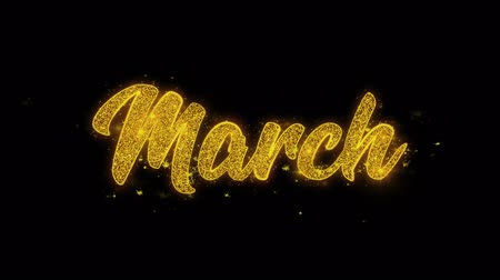 úterý : March Typography Written with Golden Particles Sparks Fireworks Display 4K. Greeting card, Celebration, Party Invitation, calendar, Gift, Events, Message, Holiday, Wishes Festival