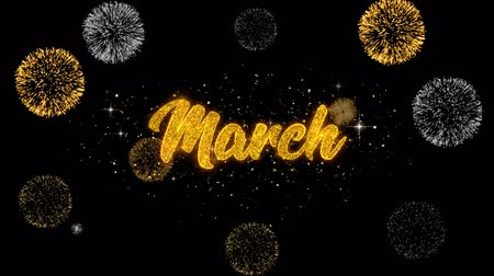 měsíčně : March Golden Greeting Text Appearance Blinking Particles with Golden Fireworks Display 4K for Greeting card, Celebration, Invitation, calendar, Gift, Events, Message, Holiday, Wishes .