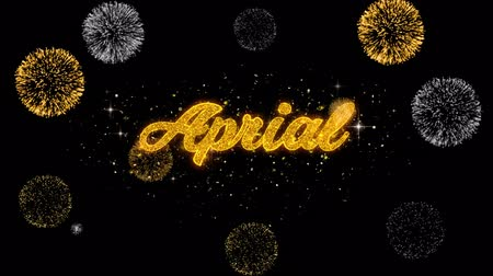 mángorlógép : April Golden Greeting Text Appearance Blinking Particles with Golden Fireworks Display 4K for Greeting card, Celebration, Invitation, calendar, Gift, Events, Message, Holiday, Wishes . Stock mozgókép