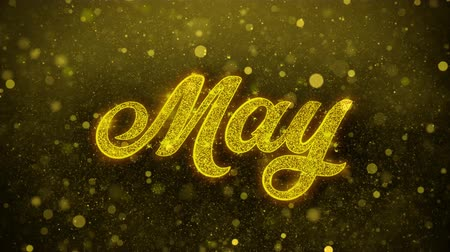 primeiro plano : May Greetings card Abstract Blinking Golden Sparkles Glitter Firework Particle Looped Background. Gift, card, Invitation, Celebration, Events, Message, Holiday, Festival