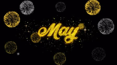 mensal : May Golden Greeting Text Appearance Blinking Particles with Golden Fireworks Display 4K for Greeting card, Celebration, Invitation, calendar, Gift, Events, Message, Holiday, Wishes . Vídeos