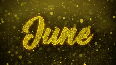 juni : June Greetings-kaart Abstract knipperen Golden Sparkles Glitter vuurwerk deeltje lus achtergrond. Geschenk, kaart, Uitnodiging, Viering, Evenementen, Bericht, Feestdagen, Festival