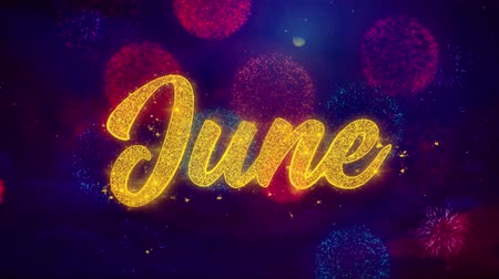 mángorlógép : June Greeting Text with Particles and Sparks Colored Bokeh Fireworks Display 4K. for Greeting card, Celebration, Party Invitation, calendar, Gift, Events, Message, Holiday, Wishes .