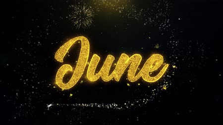 mángorlógép : June Written Gold Glitter Particles Spark Exploding Fireworks Display 4K . Greeting card, Celebration, Party Invitation, calendar, Gift, Events, Message, Holiday, Wishes Festival Stock mozgókép