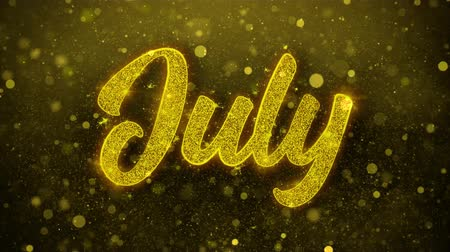 primeiro plano : July Greetings card Abstract Blinking Golden Sparkles Glitter Firework Particle Looped Background. Gift, card, Invitation, Celebration, Events, Message, Holiday, Festival Stock Footage