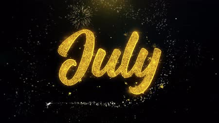 mensal : July Written Gold Glitter Particles Spark Exploding Fireworks Display 4K . Greeting card, Celebration, Party Invitation, calendar, Gift, Events, Message, Holiday, Wishes Festival