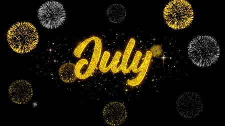 kaligrafia : July Golden Greeting Text Appearance Blinking Particles with Golden Fireworks Display 4K for Greeting card, Celebration, Invitation, calendar, Gift, Events, Message, Holiday, Wishes . Wideo