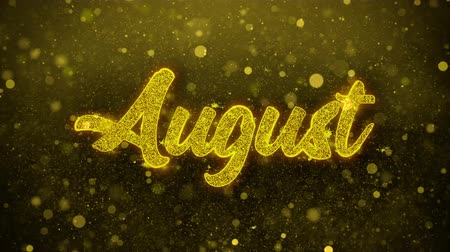 mángorlógép : August Greetings card Abstract Blinking Golden Sparkles Glitter Firework Particle Looped Background. Gift, card, Invitation, Celebration, Events, Message, Holiday, Festival