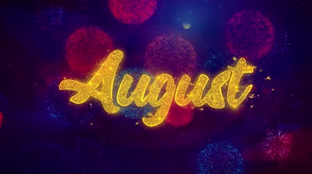 mángorlógép : August Greeting Text with Particles and Sparks Colored Bokeh Fireworks Display 4K. for Greeting card, Celebration, Party Invitation, calendar, Gift, Events, Message, Holiday, Wishes . Stock mozgókép
