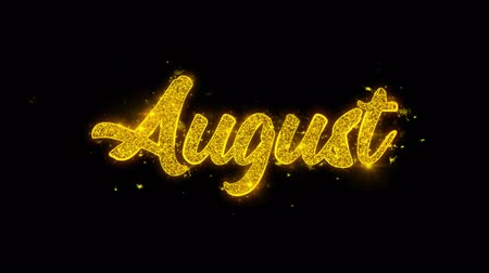 diary : August Typography Written with Golden Particles Sparks Fireworks Display 4K. Greeting card, Celebration, Party Invitation, calendar, Gift, Events, Message, Holiday, Wishes Festival