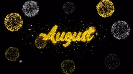 sierpien : August Golden Greeting Text Appearance Blinking Particles with Golden Fireworks Display 4K for Greeting card, Celebration, Invitation, calendar, Gift, Events, Message, Holiday, Wishes . Wideo