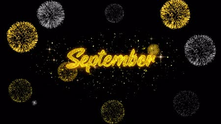 mángorlógép : September Golden Greeting Text Appearance Blinking Particles with Golden Fireworks Display 4K for Greeting card, Celebration, Invitation, calendar, Gift, Events, Message, Holiday, Wishes .