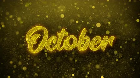 mángorlógép : October Greetings card Abstract Blinking Golden Sparkles Glitter Firework Particle Looped Background. Gift, card, Invitation, Celebration, Events, Message, Holiday, Festival