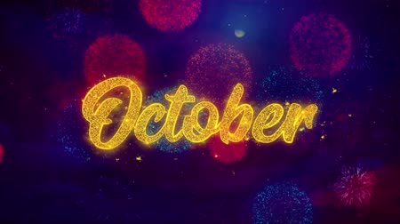 mángorlógép : October Greeting Text with Particles and Sparks Colored Bokeh Fireworks Display 4K. for Greeting card, Celebration, Party Invitation, calendar, Gift, Events, Message, Holiday, Wishes .