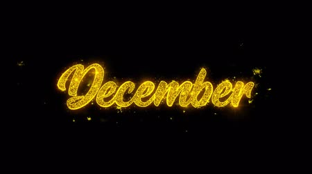 noel kartı : December Typography Written with Golden Particles Sparks Fireworks Display 4K. Greeting card, Celebration, Party Invitation, calendar, Gift, Events, Message, Holiday, Wishes Festival