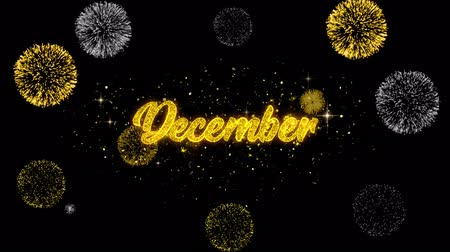 tur : December Golden Greeting Text Appearance Blinking Particles with Golden Fireworks Display 4K for Greeting card, Celebration, Invitation, calendar, Gift, Events, Message, Holiday, Wishes .