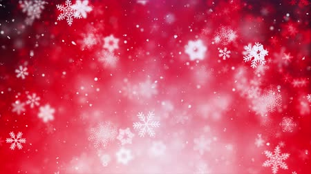 büyülü : Christmas Animation Background (Red Theme) With Snowflakes Falling In Elegant. Snow Snowfall Snowflake Particles Seamlessly Loop Black Alpha Green Screen Animation Stok Video