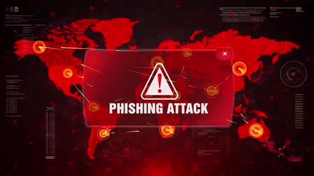 malware : Phishing Attack Alert Warning Message Attack on World map. Wire frame Radar Network Seamless loop Motion Background. UI Elements HUD Sci Fi interface.