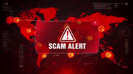 arnaque : Scam Alert Warning Message Attack on World map. Wire frame Radar Network Seamless loop Motion Background. UI Elements HUD Sci Fi interface.