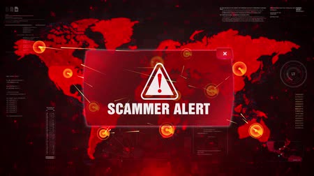 scammer : SCAMMER ALERT Alert Warning Message Attack on World map. Wire frame Radar Network Seamless loop Motion Background. UI Elements HUD Sci Fi interface. Stock Footage