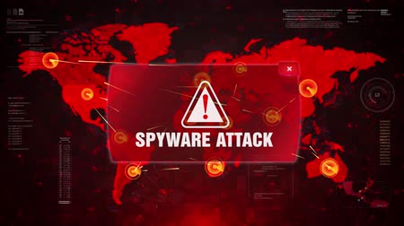 nodo : SPYWARE ATTACK Alert Warning Message Attack on World map. Wire frame Radar Network Seamless loop Motion Background. UI Elements HUD Sci Fi interface.