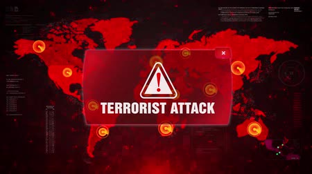 gabela : Terrorist Attack Alert Warning Message Attack on World map. Wire frame Radar Network Seamless loop Motion Background. UI Elements HUD Sci Fi interface.