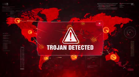 спам : Trojan Detected Alert Warning Message Attack on World map. Wire frame Radar Network Seamless loop Motion Background. UI Elements HUD Sci Fi interface.