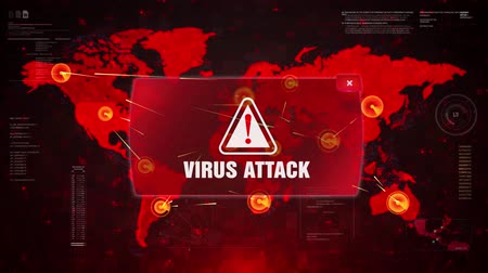 trojan : Virus Attack Alert Warning Message Attack on World map. Wire frame Radar Network Seamless loop Motion Background. UI Elements HUD Sci Fi interface.