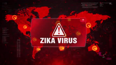 transmitted : Zika Virus Alert Warning Message Attack on World map. Wire frame Radar Network Seamless loop Motion Background. UI Elements HUD Sci Fi interface. Stock Footage