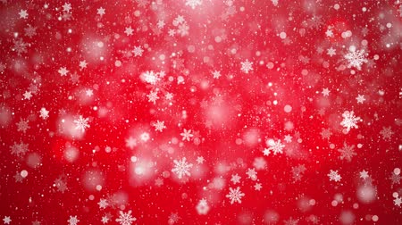 czerwone tło : Red Elegant abstract silver snow snowfall snowflake Particles. Winter Christmas animated grey white glitter background. theme. Seamlessly Loop Black Alpha Green Screen Animation.