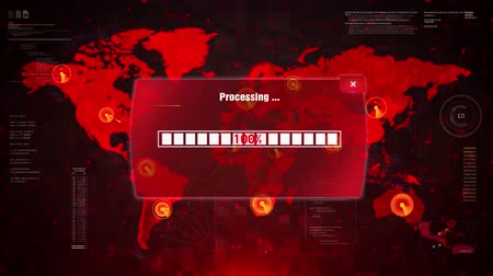 şifreleme : VIRUS THREAT Alert Warning Message Attack on Screen. Wire Frame World map Radar Network Glitch Distortion. Login, Password and Progress Bar Futuristic UI Elements HUD Sci Fi Interface. Stok Video