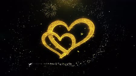 kívánságait : Romantic Heart Valentines Day Written Gold Particles Spark Fireworks Display 4K . Greeting card, Celebration, Party Invitation, calendar, Gift, Events, Message, Holiday, Wishes Festival Stock mozgókép