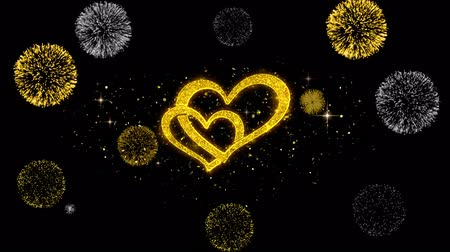 namiętność : Valentines day love and hearts Golden Greeting Particles with Golden Fireworks Display 4K for Greeting card, Celebration, Invitation, calendar, Gift, Events, Message, Holiday, Wishes .