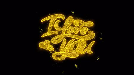 я тебя люблю : I Love You Valentines Typography Written with Golden Particles Sparks Fireworks Display 4K. Greeting card, Celebration, Party Invitation, calendar, Gift, Events, Message, Holiday, Wishes Festival