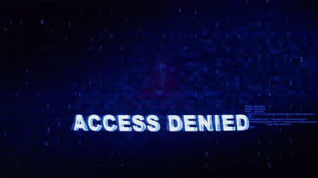 preparado : Access Denied Text Digital Noise Glitch Effect Tv Screen Loop Background. Login and Password With System Error Security ,Hacking Alert , Cyber Crime Attack Computer Error Distortion Message . Stock Footage