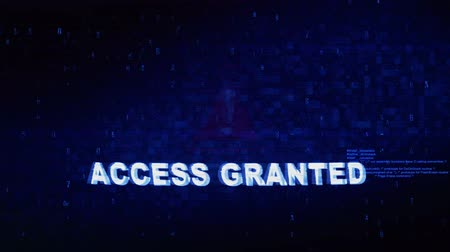 unlocking : Access Granted Text Digital Noise Twitch and Glitch Effect Tv Screen Loop Animation Background. Login and Password Retro VHS Vintage and Pixel Distortion Glitches Computer Error Message. Stock Footage