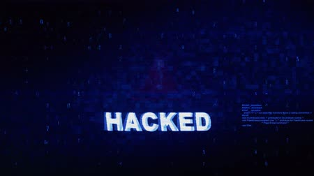 wasknijper : Hacked Text Digital Noise Glitch Effect Tv Screen Background. Login and Password With System Error Security ,Hacking Alert , Cyber Crime Attack Computer Error Distortion Message . Stockvideo