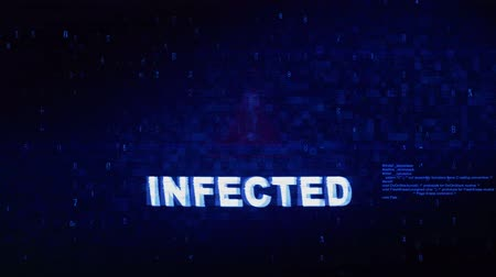 tehdit : Infected Text Digital Noise Glitch Effect Tv Screen Background. Login and Password With System Error Security ,Hacking Alert , Cyber Crime Attack Computer Error Distortion Message . Stok Video